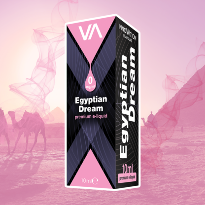 INNOVATION Egyptian Dream vape juice is a mild aroma of sweet American tobacco dried in the sun with a caramel aftertaste.